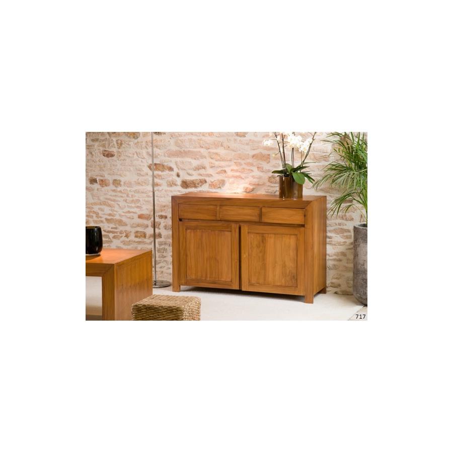 meuble 2 portes 3 tiroirs bali 120 cm teck meubles macabane meubles et objets de d coration. Black Bedroom Furniture Sets. Home Design Ideas