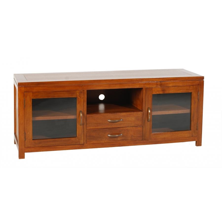 meuble tv 2 portes vitr es mindi meubles macabane. Black Bedroom Furniture Sets. Home Design Ideas
