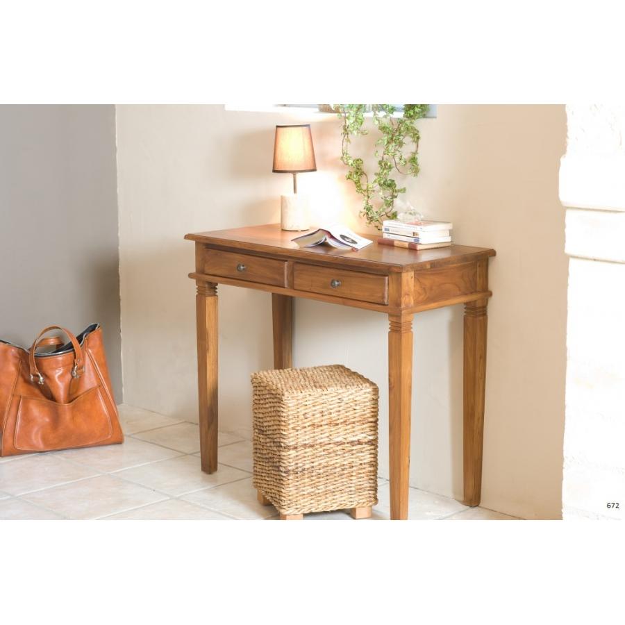 bureau 2 tiroirs teck meubles macabane meubles et objets de d coration. Black Bedroom Furniture Sets. Home Design Ideas