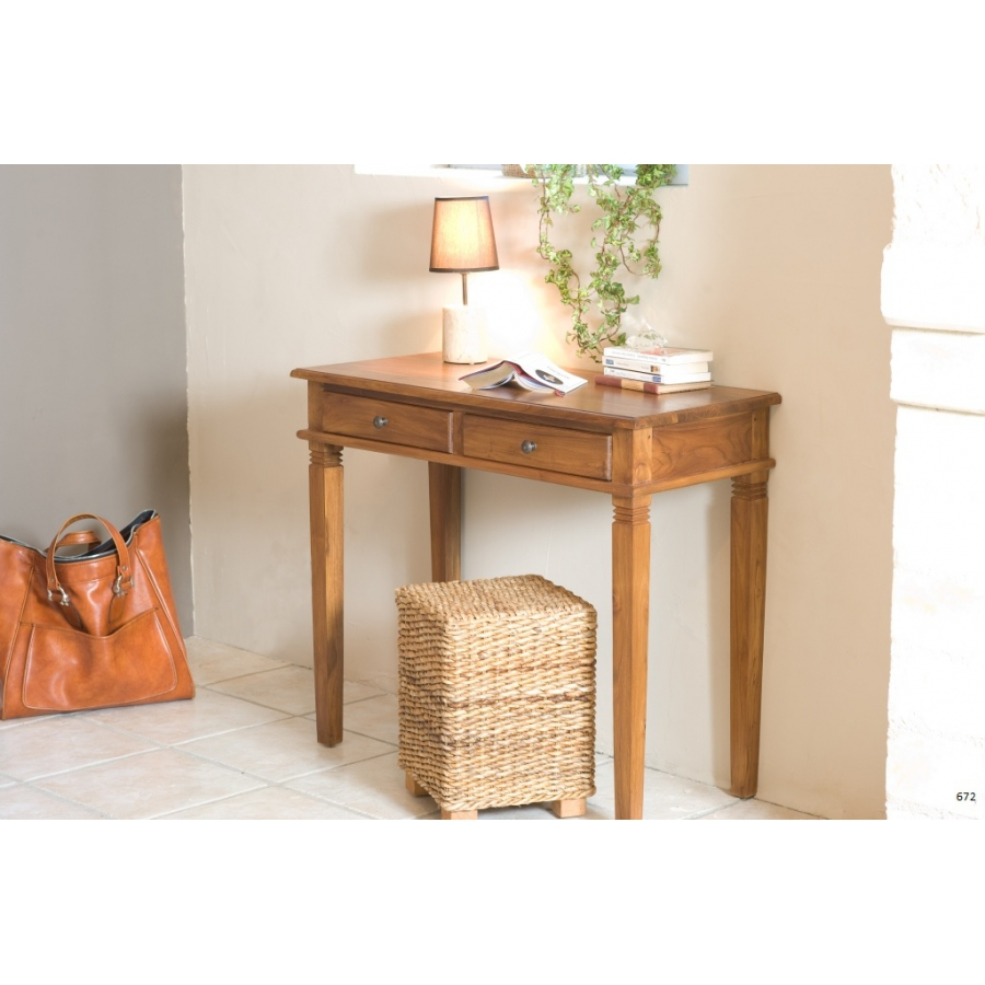 Bureau 2 tiroirs teck meubles macabane meubles et for Meuble bureau 2 tiroirs
