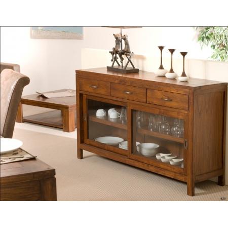 buffet 2 portes coulissantes vitr es 3 tiroirs meubles macabane meubles et objets de d coration. Black Bedroom Furniture Sets. Home Design Ideas