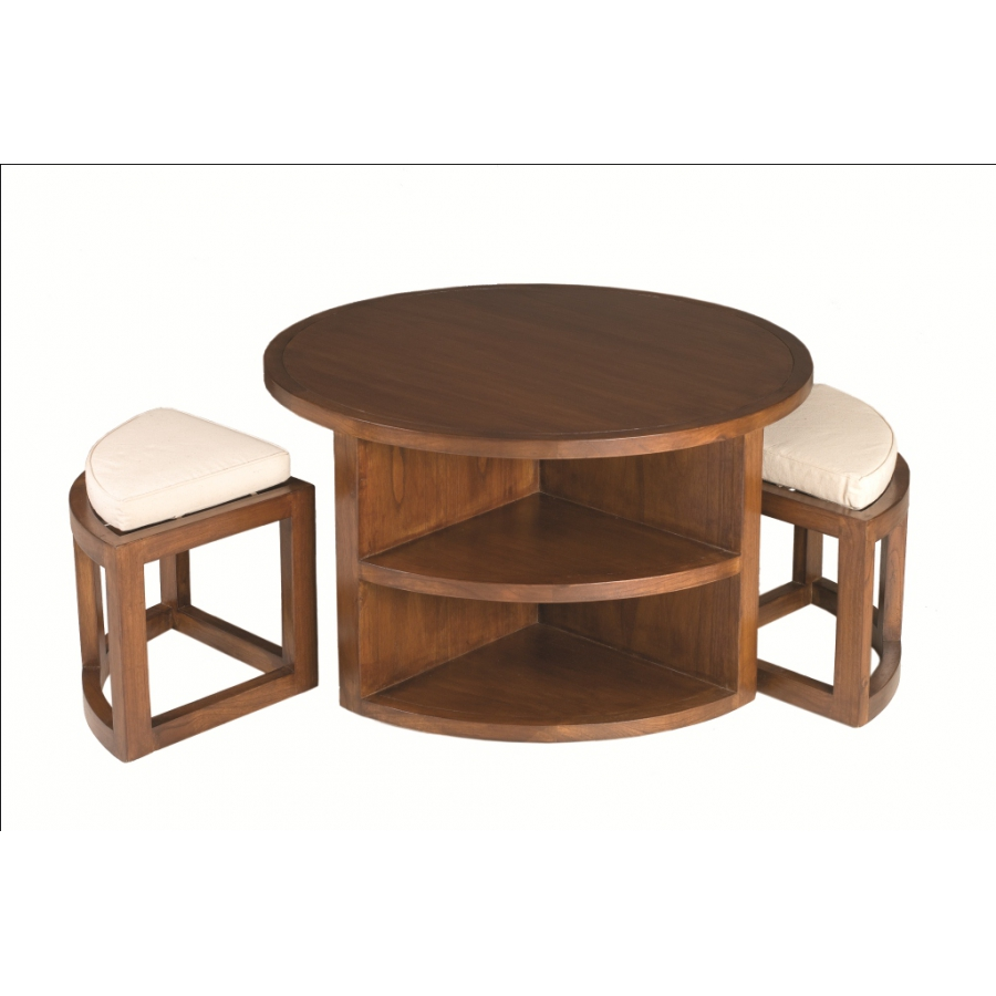 Table basse ronde 2 tabourets avec coussins meubles - Table basse ronde but ...