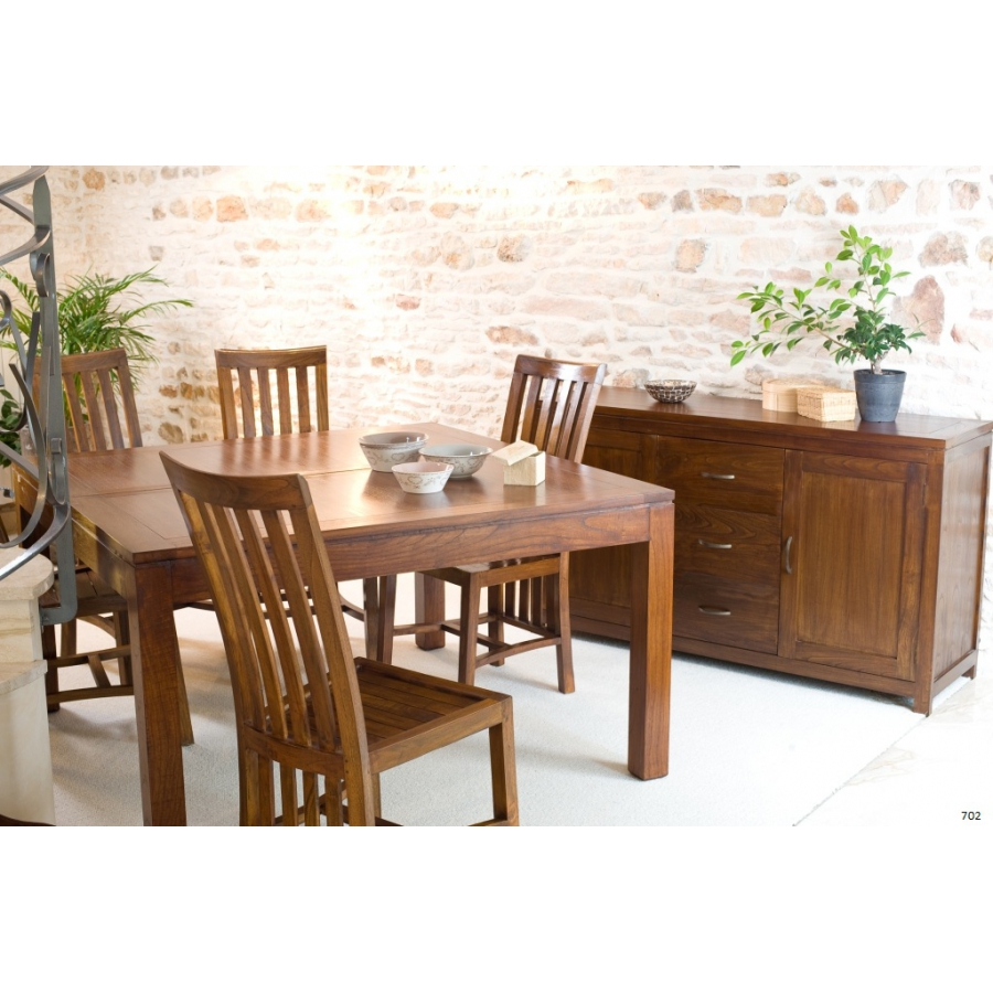 Table carree bois avec rallonge valdiz for Table a manger carree