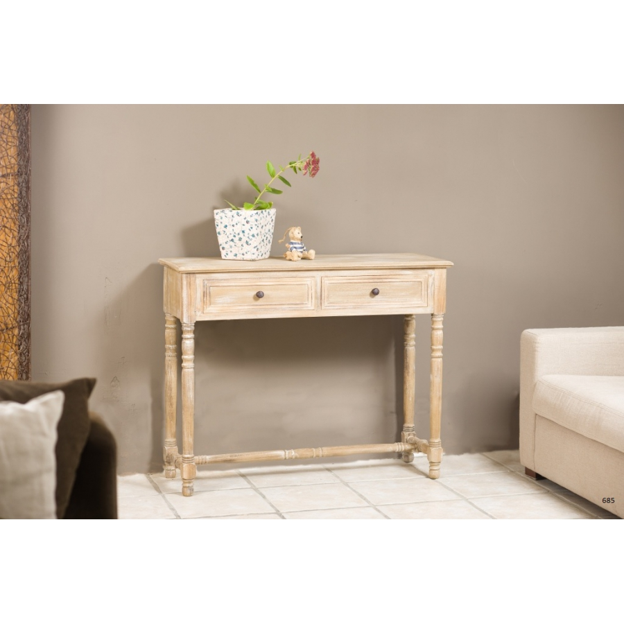 console 2 tiroirs paulownia meubles macabane meubles. Black Bedroom Furniture Sets. Home Design Ideas