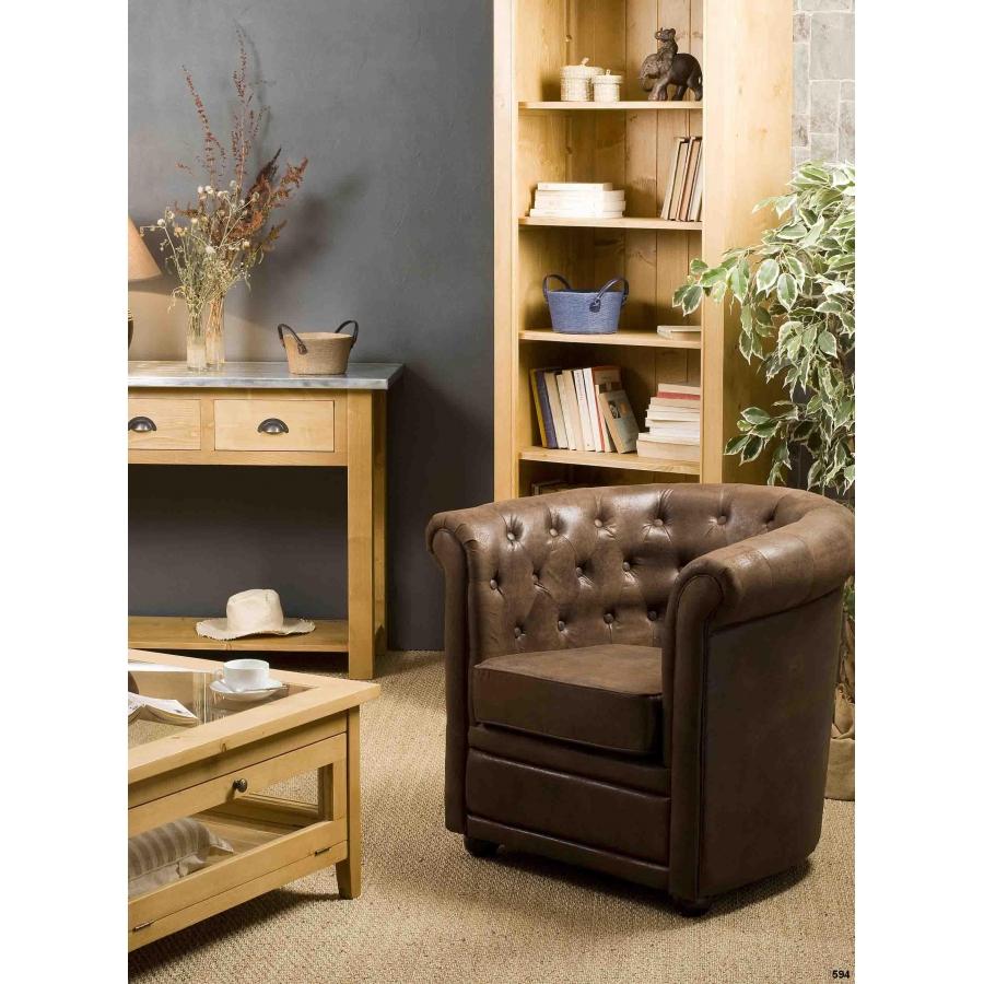 Fauteuil chesterfield marron microfibre meubles macabane for Macabane meuble