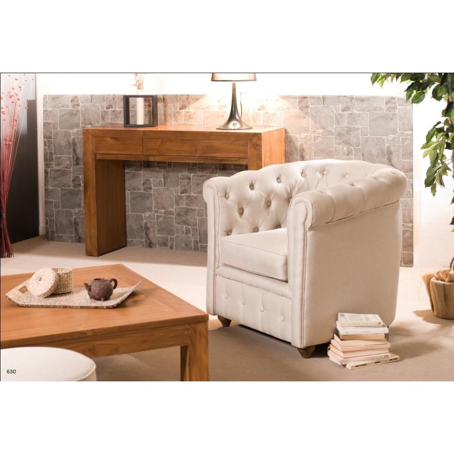 Fauteuil chesterfield tissu couleur naturelle meubles macabane meubles et - Fauteuil chesterfield tissu ...