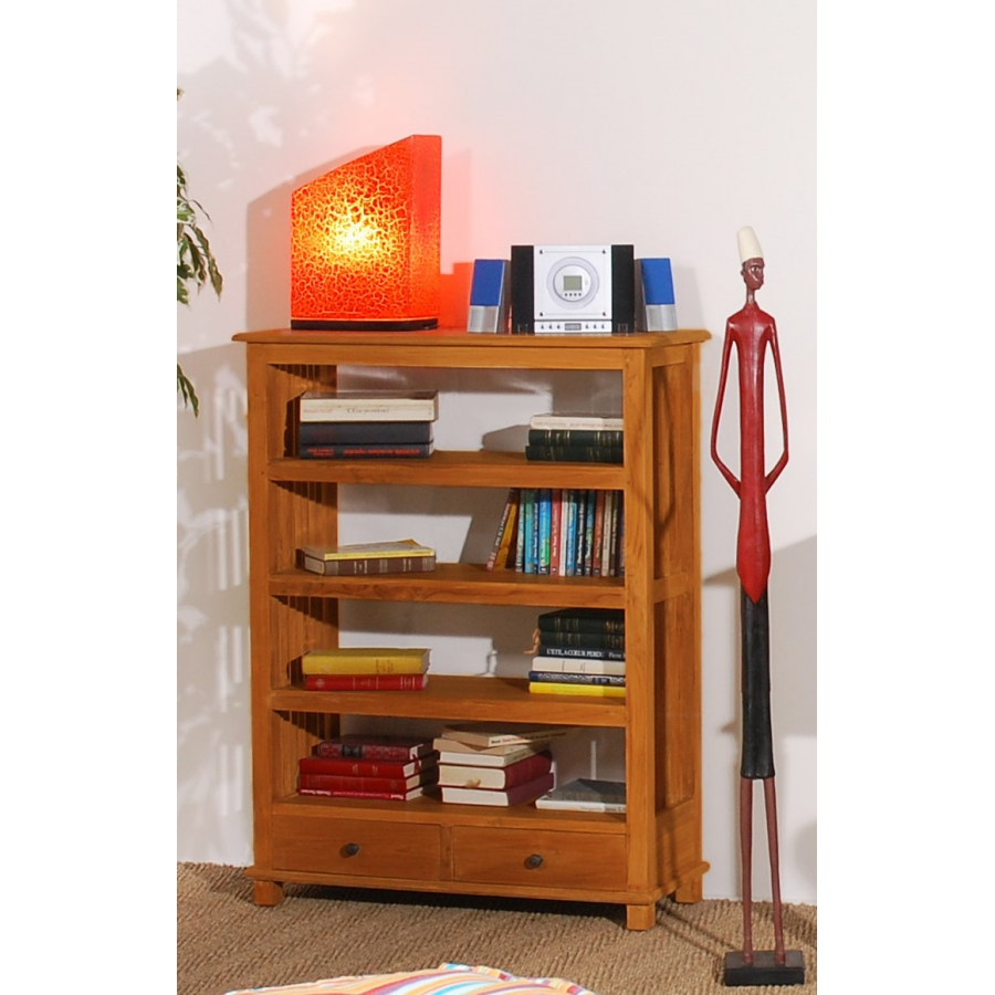 Etag re biblioth que ajour e pm 2 tiroirs teck meubles for Macabane meuble
