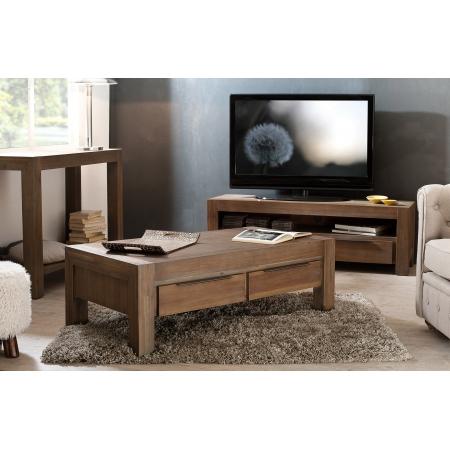 Table basse 2 tiroirs 120 x 65 cm acacia meubles - Table basse en acacia ...