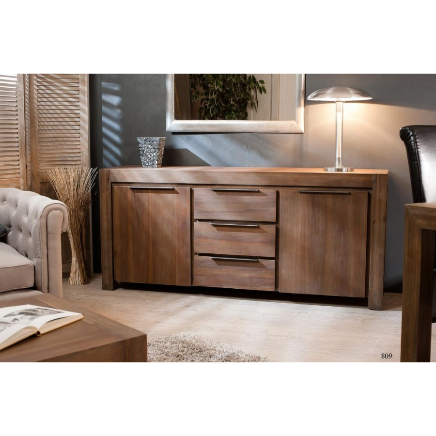buffet 2 portes 3 tiroirs acacia meubles macabane. Black Bedroom Furniture Sets. Home Design Ideas