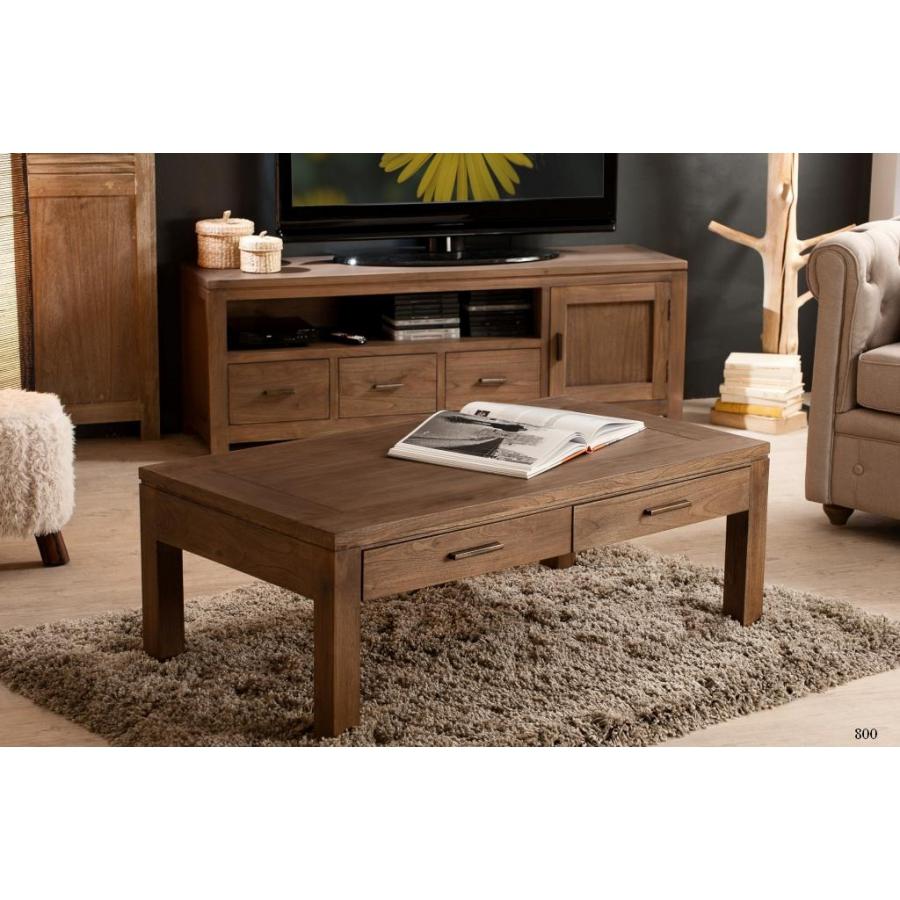 Table basse 110 x 60 cm 2 tiroirs mindi meubles macabane for Meuble 110 x 80