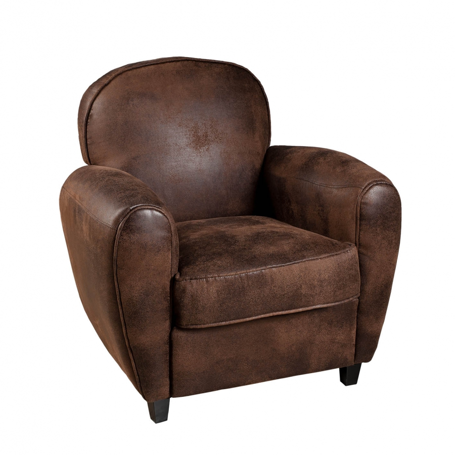fauteuil club microfibre marron meubles macabane. Black Bedroom Furniture Sets. Home Design Ideas