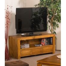 Chevet arrondi 3 tiroirs pieds courb s teck meubles for Meuble tv opium