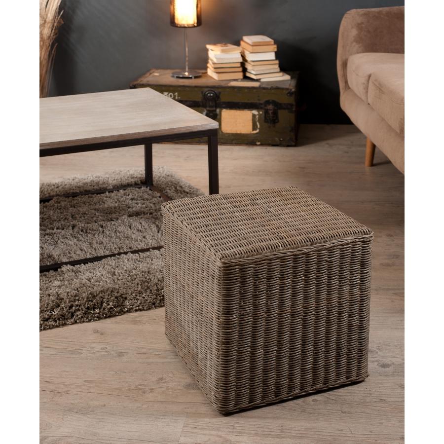 Pouf carr rotin meubles macabane meubles et objets de for Meuble rotin