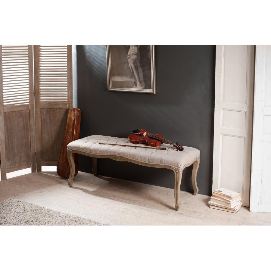 Banc pieds courbés tissu couleur lin - Meubles Macabane - meubles ...