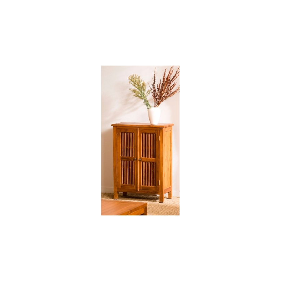 Meuble 2 portes persiennes teck meubles macabane for Meuble porte persienne