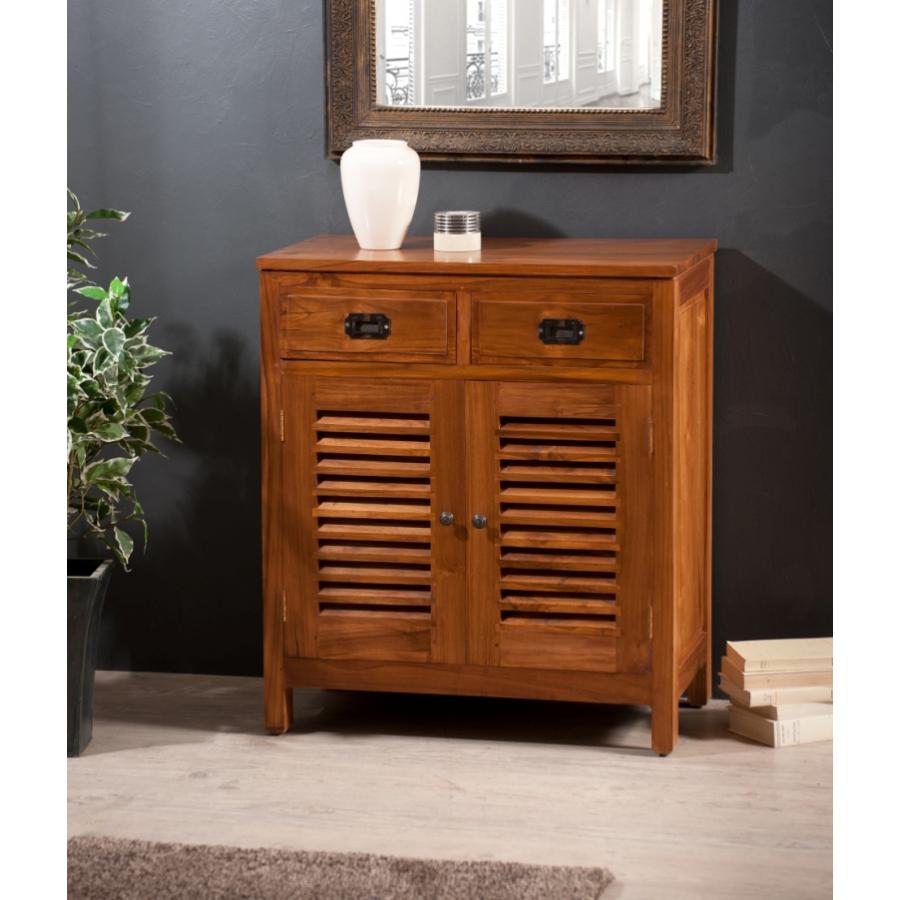 Bahut 2 portes persiennes 2 tiroirs teck meubles for Meuble tv avec armoire