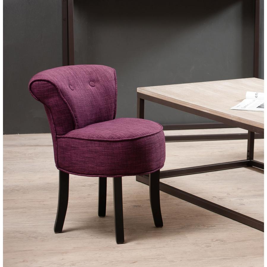 Tabouret rond avec dossier tissu couleur prune meubles - Tabouret haut avec dossier ...