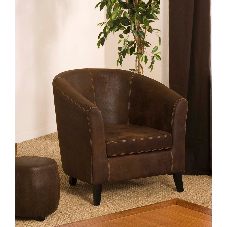 fauteuil cabriolet marron microfibre meubles macabane. Black Bedroom Furniture Sets. Home Design Ideas