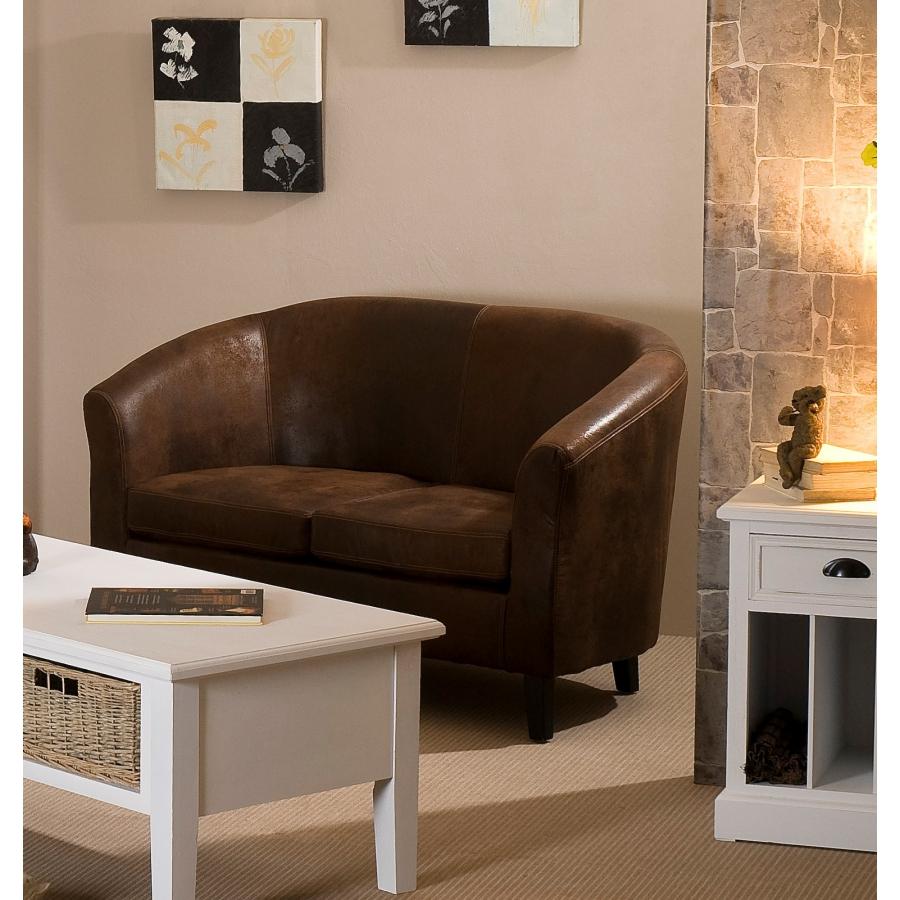 Canap cabriolet microfibre marron meubles macabane for Macabane meuble