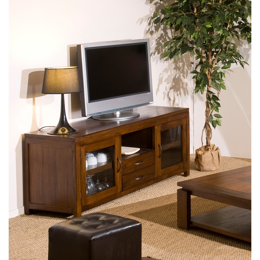 meuble tv 2 portes vitr es mindi meubles macabane. Black Bedroom Furniture Sets. Home Design Ideas