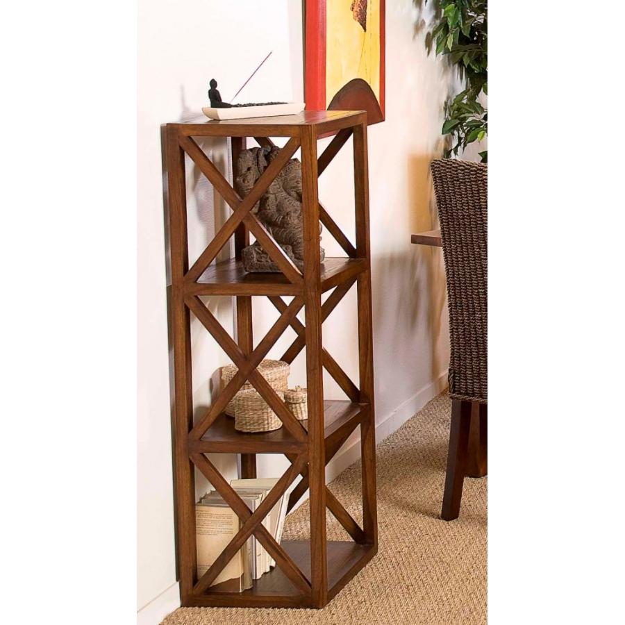 Etag re 40 cm 3 cases croisillons meubles macabane for Meuble escalier bois exotique