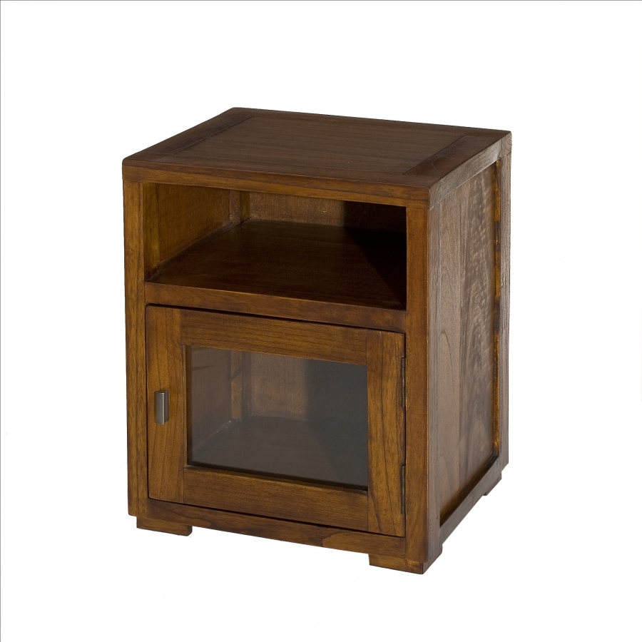 Chevet 1 niche 1 porte vitr e meubles macabane meubles et objets de d cor - Chevet bois exotique ...
