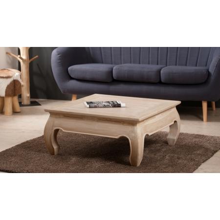 Table basse opium 80 80 teck blanchi meubles macabane for Meuble tv opium