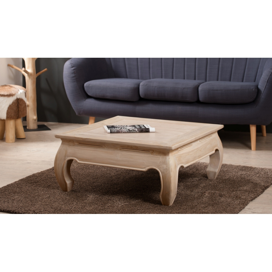 Table basse opium 80 80 teck blanchi meubles macabane meubles et objets d - Table basse opium carree ...