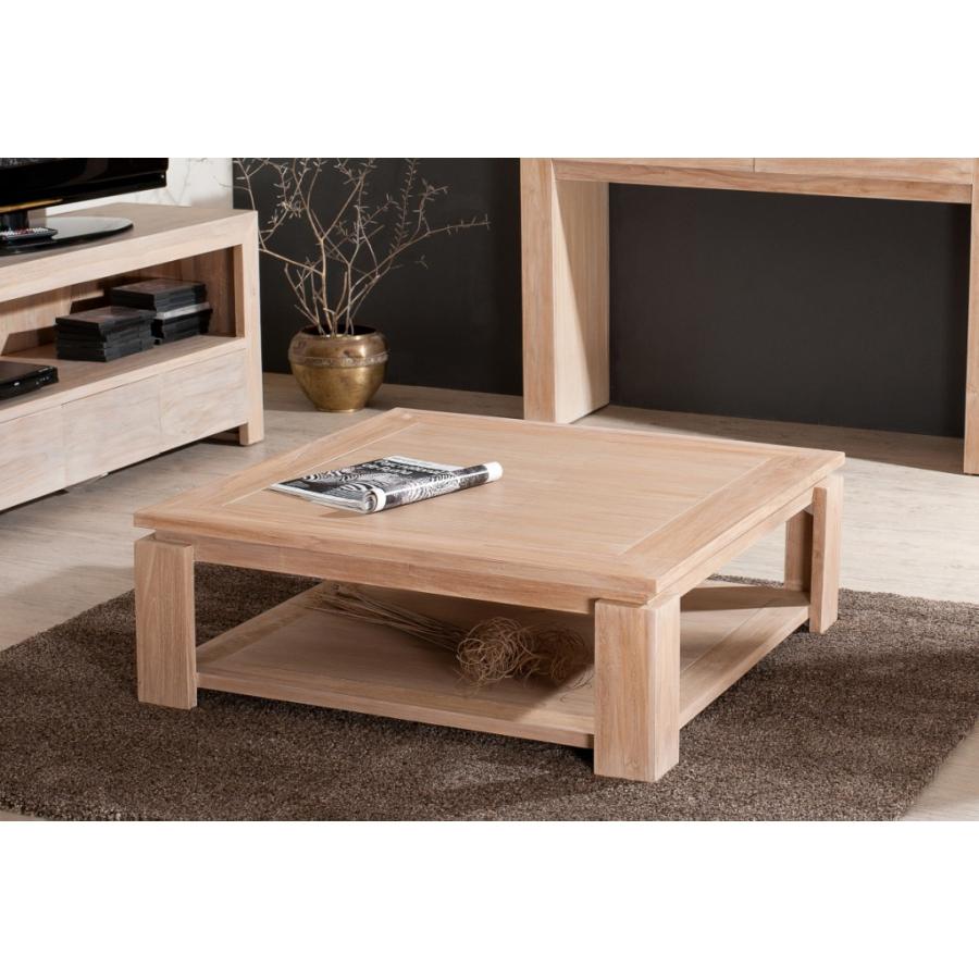table basse sous plateau 90 x 90 cm teck blanchi meubles macabane meubles et objets de. Black Bedroom Furniture Sets. Home Design Ideas