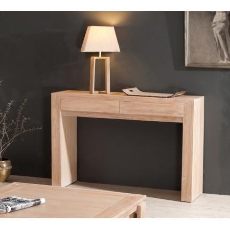 console moderne 2 tiroirs gm teck blanchi meubles macabane meubles et objets de d coration. Black Bedroom Furniture Sets. Home Design Ideas