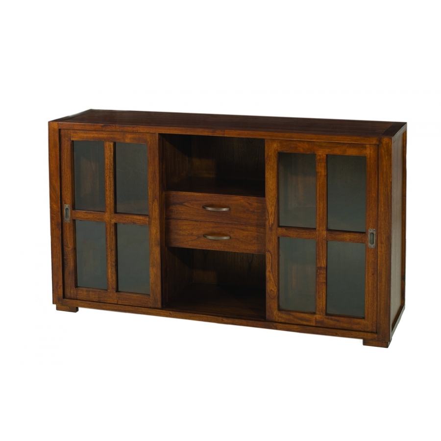 Buffet vitrine 2 portes coulissantes meubles macabane for Macabane meuble