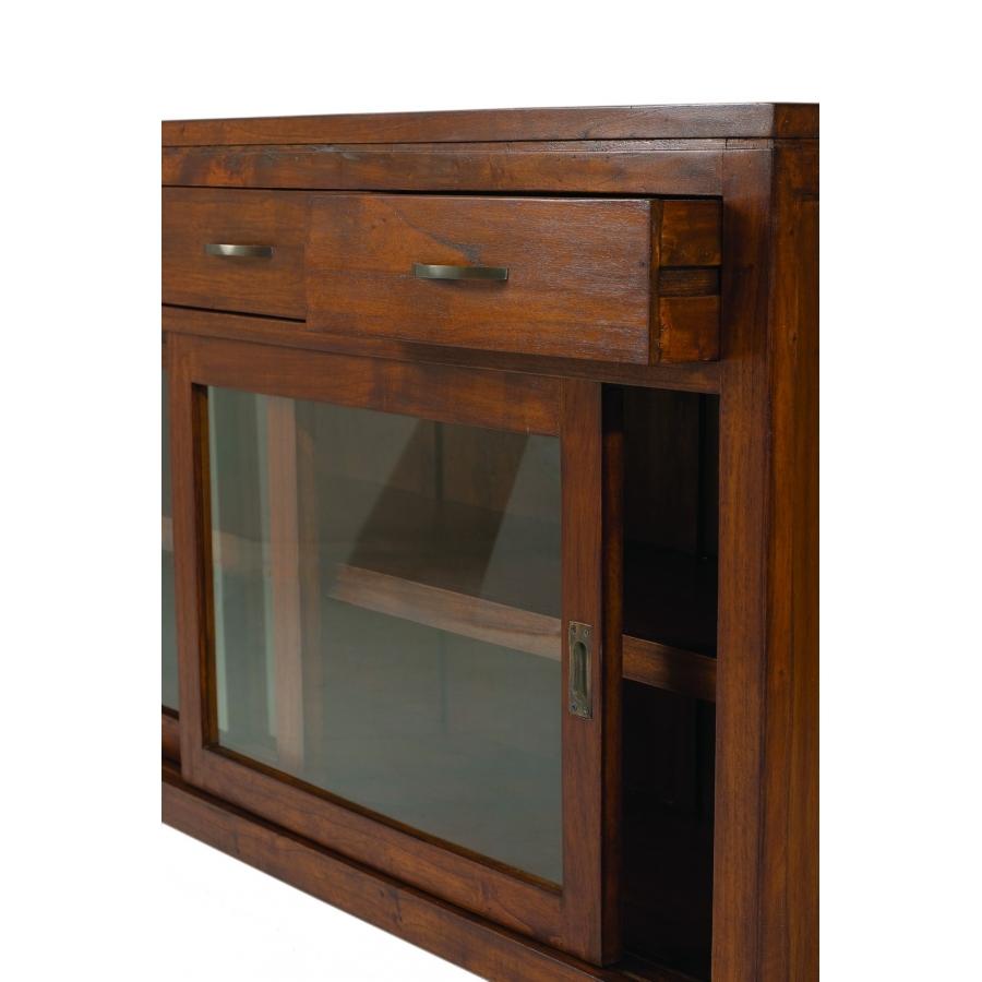 Buffet 2 portes coulissantes vitr es 3 tiroirs meubles for Meuble 3 portes coulissantes
