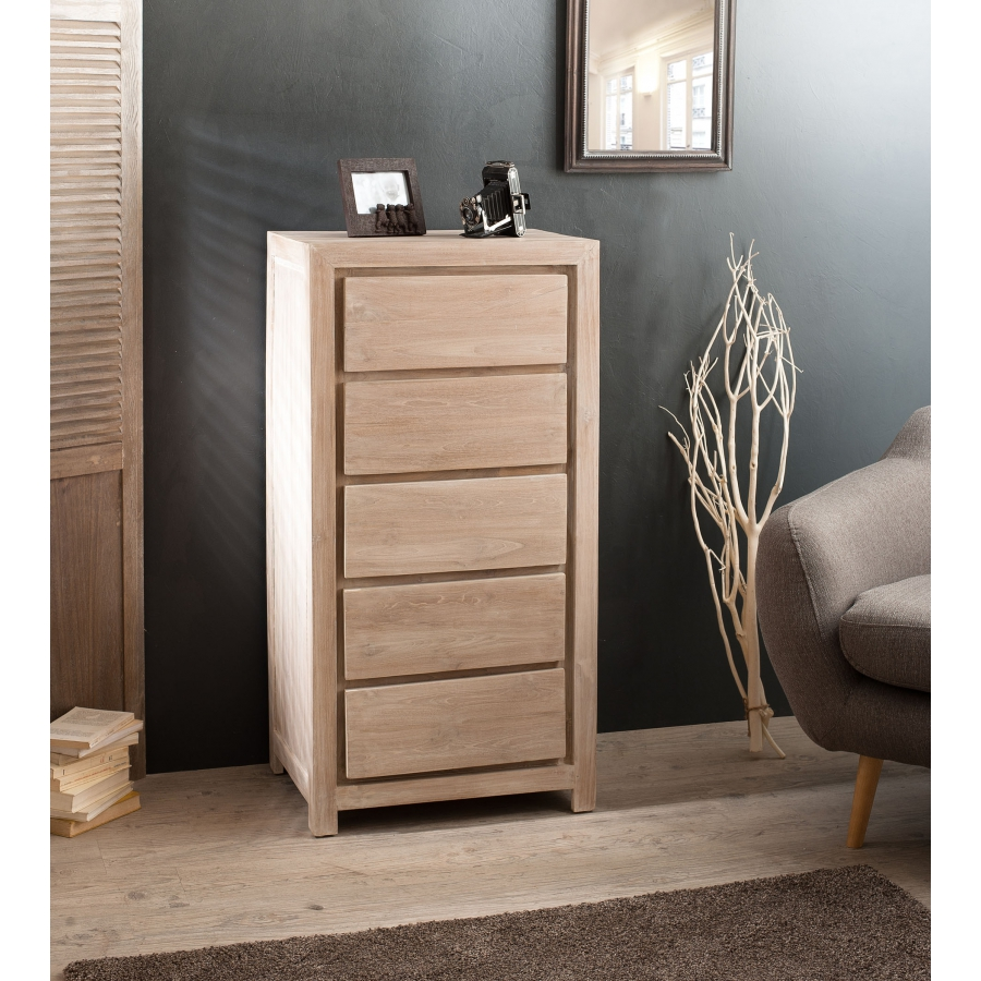 chiffonnier moderne 5 tiroirs teck meubles macabane. Black Bedroom Furniture Sets. Home Design Ideas