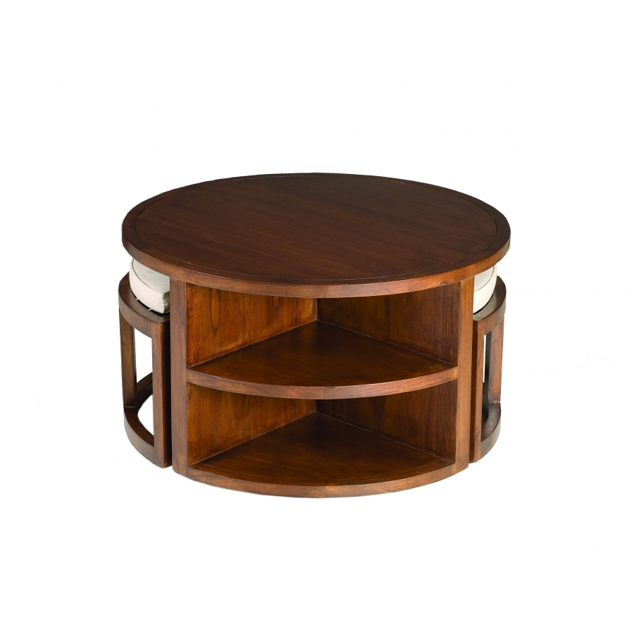 Table de salon bois exotique - Table basse avec tabourets integres ...