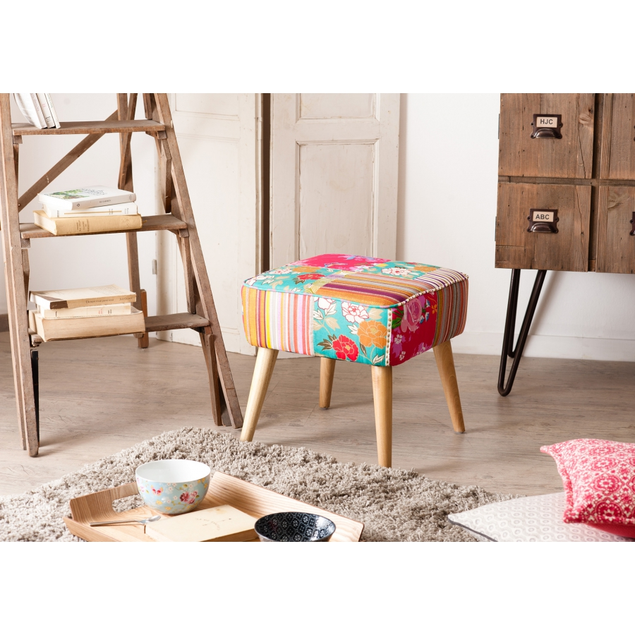 tabouret carr scandi tissu boh me meubles macabane meubles et objets de d coration. Black Bedroom Furniture Sets. Home Design Ideas