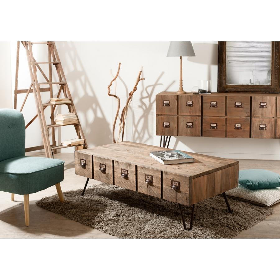 Table basse 1 tiroir meubles macabane meubles et for Table en pin