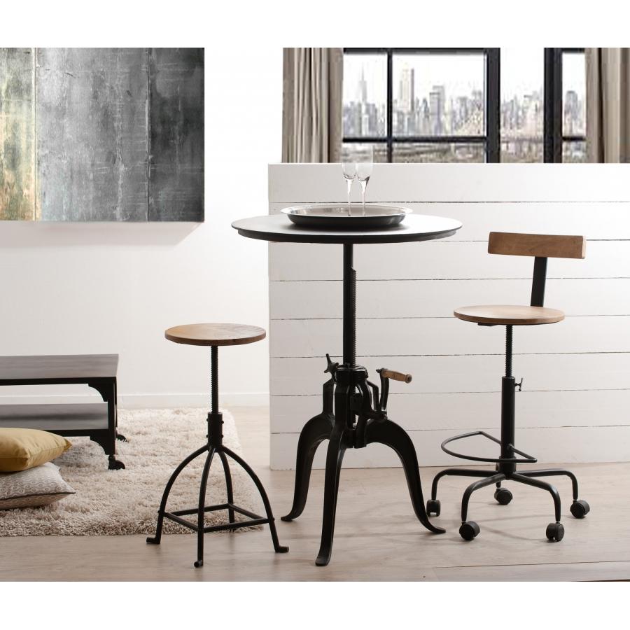 table ronde industrielle ajustable hauteur meubles. Black Bedroom Furniture Sets. Home Design Ideas