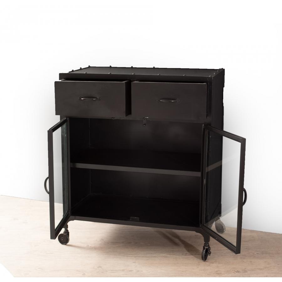 buffet industriel 2 portes 2 tiroirs meubles macabane meubles et objets de d coration. Black Bedroom Furniture Sets. Home Design Ideas