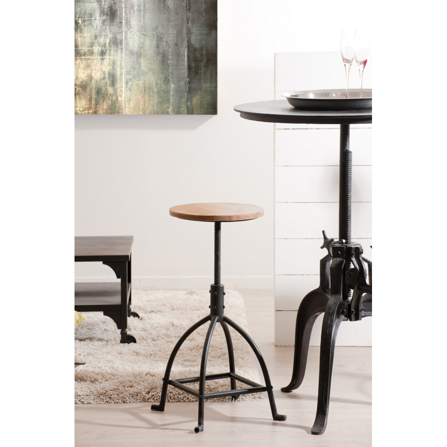 tabouret de bar bois et m tal industriel meubles. Black Bedroom Furniture Sets. Home Design Ideas
