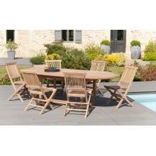 Salon de jardin n°4 en teck comprenant 1 table ovale / 6 chaises java