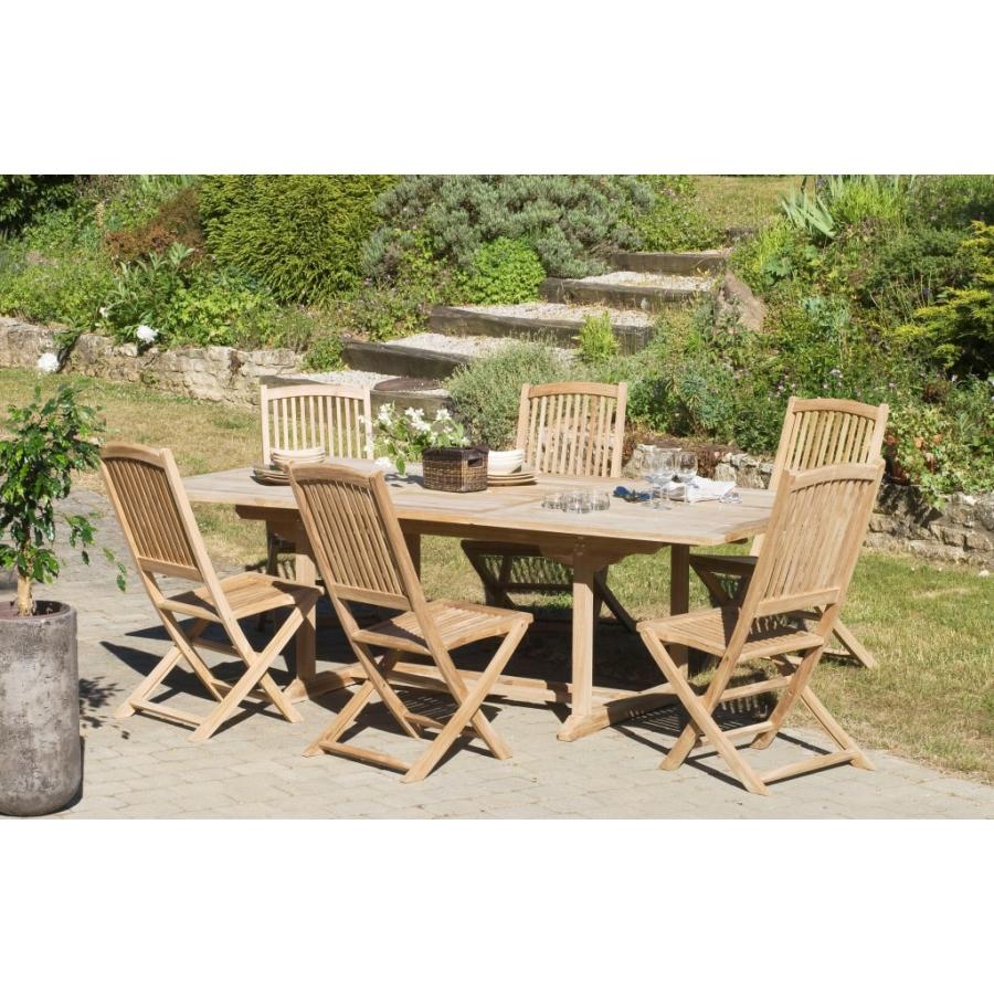 Salon de jardin n°12 en teck comprenant 1 table rectangulaire / 6 ...