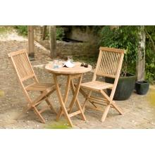 Salon de jardin n°19 en teck comprenant 1 table ronde 60 x 60 cm / 2 chaises java