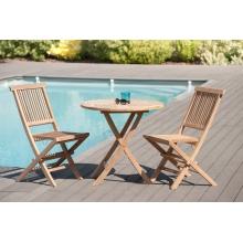 Salon de jardin n°25 en teck comprenant 1 table ronde / 2 chaises java