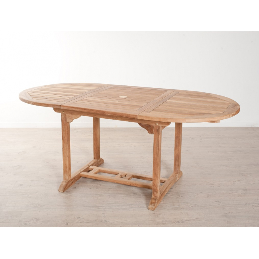 Table ovale extensible 120 180 x 90 cm en teck meubles for Table ovale extensible