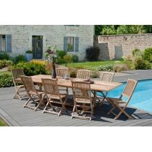 Salon de jardin n°27 comprenant 1 rectangulaire 200/300 x 120 et 8 chaises lombock