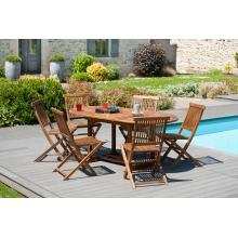 Salon de jardin n°101 comprenant 1 table ovale 120/180 x 90 cm 6 chaises java en teck huilé