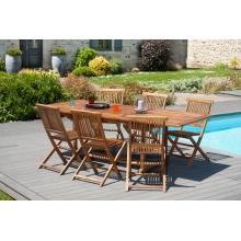 Salon de jardin n°102 comprenant 1 table rectangulaire 180/240 x 100 cm 6 chaises java en teck huilé