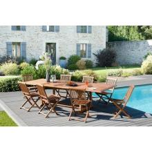 Salon de jardin n°103 comprenant 1 table rectangulaire 200/300 x 120 cm 8 chaises java en teck huilé