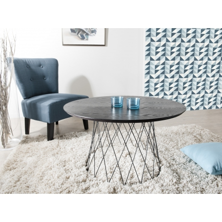 table basse ronde 80 x 80 cm pieds m tal grillage. Black Bedroom Furniture Sets. Home Design Ideas