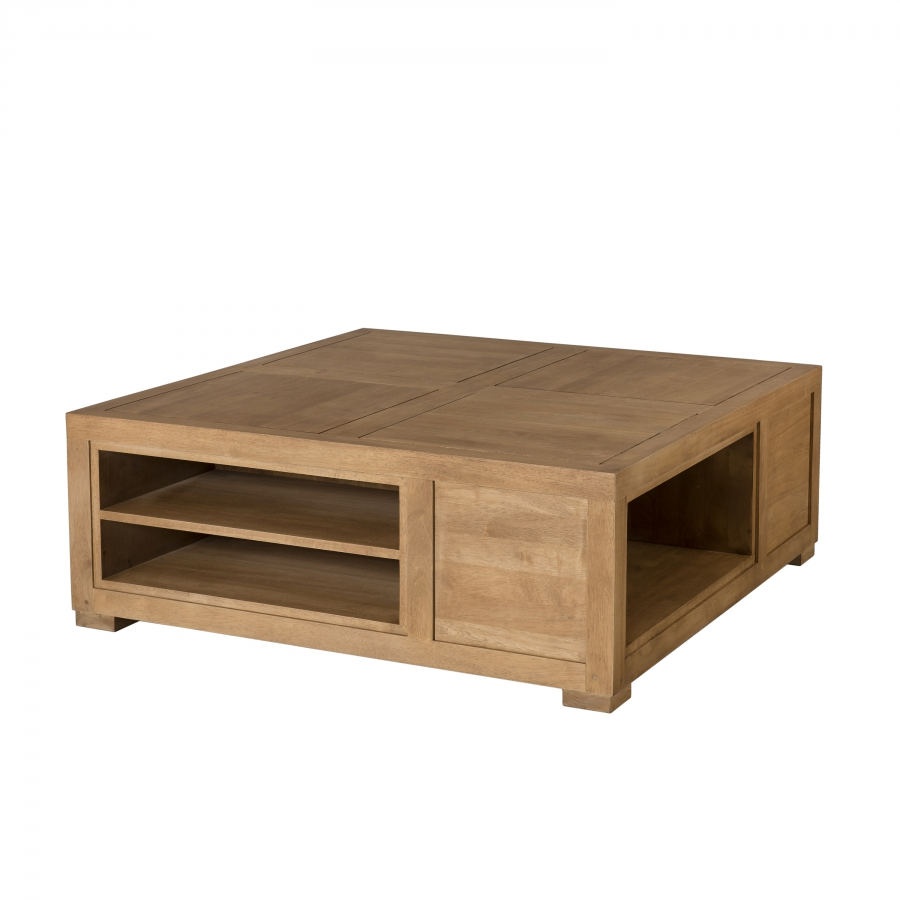 Table basse carr e avec niches de rangement meubles for Table basse carree